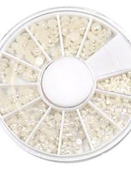 Mixed-Size Semicircle White Pearl Nail Art Decorations