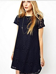 Women's Round Neck Lace/Button Dress , Lace Above Knee Short Sleeve