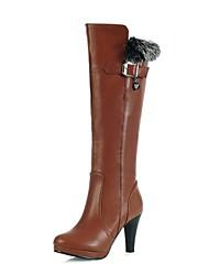 altas botas de los zapatos de moda las botas tacón grueso de la rodilla de la mujer con hebilla más colores disponibles