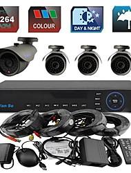 yanse® 4ch 960H 1000tvl kit cctv dvr colore impermeabile sistema di telecamere di sicurezza ir 6mm (cavo 66ft) f278cf04