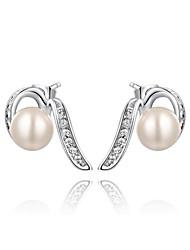 mode roxi mûre véritable cristal autrichien blanc platine zircon alliage stud la boucle d'oreille des femmes (1 paire)