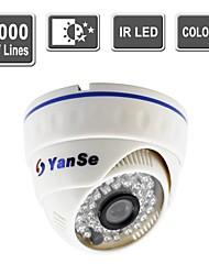 líneas yanse® de seguridad CCTV de la visión del color de la cámara domo IR cámaras de vigilancia de interior -1000tv 808cfw