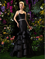 ts couture de noite formal - ajuste preto& varredura espaguete correias alargamento / trem escova de cetim