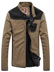 Men's Fashion Casual Spell Color Single Breasted  Long Sleeved  Jacket