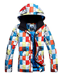 Gsou Snow Outdoor Colorful Check Pattern Men's Thermal Ski Down Jacket