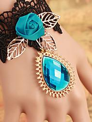 High Grade Shiny Malachite Green Rose Lace Bracelet