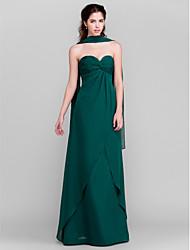 Floor-length Chiffon Bridesmaid Dress - Dark Green Sheath/Column Sweetheart