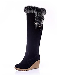 Women's Fall Winter Snow Boots Faux Suede Fur Dress Wedge Heel Lace-up Black Brown Gray