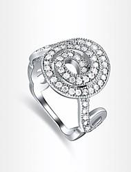 classic prata diamanted espiral das mulheres banhado anéis de instrução (1 pc)