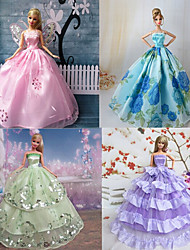 4 Pcs Barbie Doll Spring Garden Deluxe Princess Dress