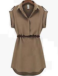 manica corta sottile risvolto moda collo temperamento fit loose abiti di chiffon delle donne BLK