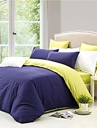 sensleep 4 pieza estilo de vida sencillo azul funda nórdica 100 de algodón oscuro ajusta el tamaño completo de la reina
