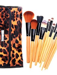 12 Piece Cosmetic Brush Set with Leopard Bag