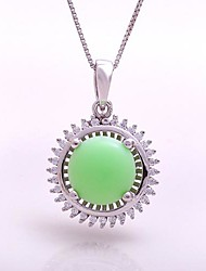AS 925 Silver Jewelry  Green jade exquisite 9MM circular pendant