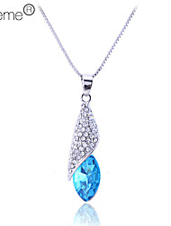 Lureme®Shining Rhinestone with Crystal Hat Necklace (Assorted Color)