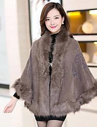 abrigo de piel sintética manto moda solapa de las mujeres (más colores)