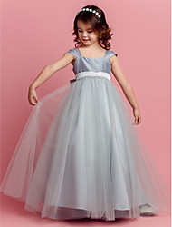 LAN TING BRIDE Ball Gown Floor-length Flower Girl Dress - Taffeta Tulle Square with Bow(s) Sash / Ribbon