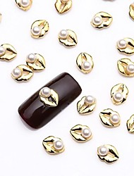 10PCS White Nail Art Pearl Jewelry Glittery Gold Jewellry for Fake Nail Design Manicure Varnish