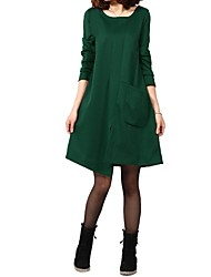 Women's Casual/Daily Loose Dress,Solid Round Neck Above Knee Long Sleeve Black / Green / Orange Polyester Fall / Winter