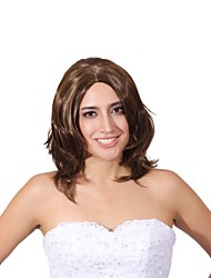 Capless Mix Color Medium Length High Quality Natural Curly Hair Synthetic Wig with None Bang