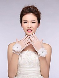 Ivory Tulle Fingertips Wrist Length Wedding Gloves with Flowers with Beading ASG20