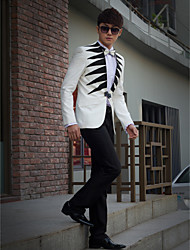 Black&White Print Slim Fit Tuxedo In Polyester