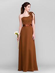 Lanting Bride Floor-length Chiffon Bridesmaid Dress Sheath / Column One Shoulder Petite with Bow(s) / Side Draping