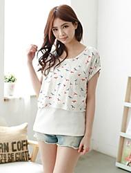Women's Printed 2pcs suit Breastfeeding T-shirt Nursing Maternity Top