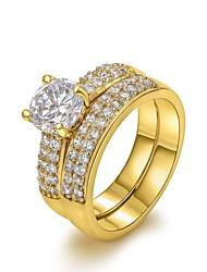 unisex 18k clássico vasta fileira dupla de Declaração de zircão anéis de cobre (1 pc)