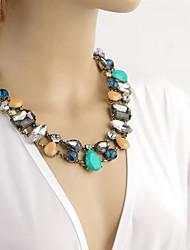 Women's Multi-shape Gem Drops Short Necklace