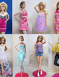 Princesse Costumes Pour Poupée Barbie Violet / Blanc Lace Robes / Jupes / Pantalons / Hauts Pour Fille de Doll Toy