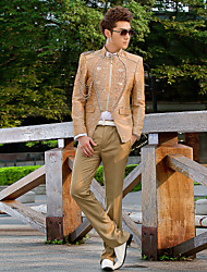 Champagne Beading Slim Fit Tuxedo In Polyester