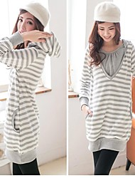 Women's Stripey Maternity Breastfeeding Clothes Cute Nursing Long Sleeves Tops