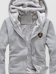 WANs sólido cor moletom com capuz terry casaco de manga comprida masculina