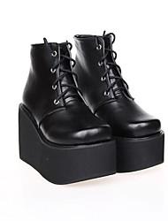 PU 10cm de cuero zapatos del lolita punky plataforma negro