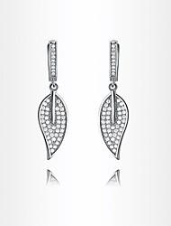 roxi pendaison délicate des femmes laisse boucles d'oreilles bijoux élégants de danse boucle d'oreille blanche de chute de zircon (1 paire)
