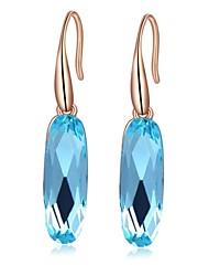 la lumière bleue goutte d'alliage de zircon ellipse de la mode forme des cristaux la boucle d'oreille des femmes (1 paire)