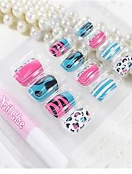 12 Pcs  Color Leopard  Design Nail Art Tips With Glue