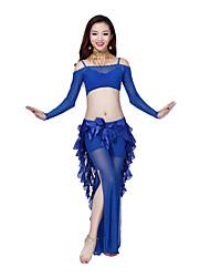 Belly Dance Dancewear Women's Elegant Long Sleeve Tulle Belly Dance Tops(More Colors)