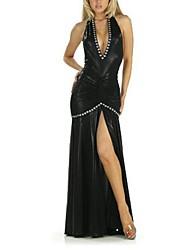 Women's Solid Black Dress , Sexy/Maxi Deep V/Halter Sleeveless