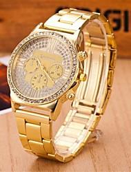 reloj de la correa de acero de aleación de cuarzo circular moda del taladro determinado de los hombres