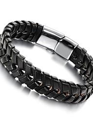 cuir hommes titane bracelet tissé ACIER boucle hommes