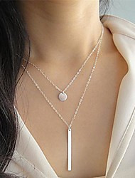 Fashion I Shape Slice Silver Alloy Pendant Necklace(1Pc)