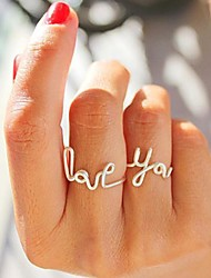 Women's 2 Pieces Alloy Wire Love You Letter Ring Set