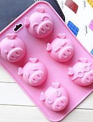 6 Hole Pig Face Shape Cake Mold