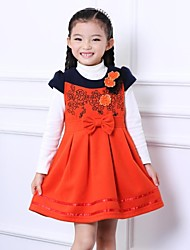 Christmas and New Year Woolen Embroidery Princess Girls Hit Color Small Short-Sleeve Dress Upscale Fashion