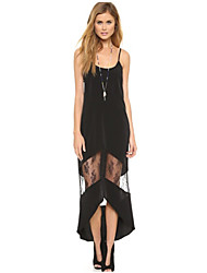 Women's Patchwork Black Dress , Sexy/Bodycon Strap Sleeveless