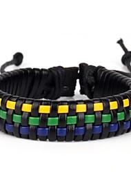 comfortabele mand vlechten leren armband geel groen blauw (1 stuk)