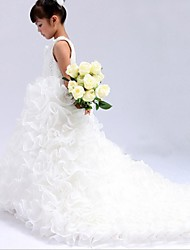 Ball Gown Cathedral Train Flower Girl Dress - Organza Sleeveless Jewel with Beading / Sash / Ribbon / Cascading Ruffles