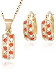 Z&X® European Style 18K Gold Plated Contractedf Pendant Necklace Earrings Jewelry Set (1 set)